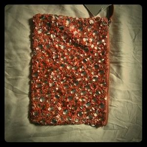 Anthropologie leather and crystal pouch